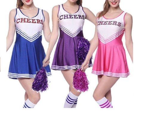 UK High School Cheer Girl Uniform Costume Cheerleader Fancy Dress with Pompoms